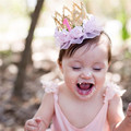 Baby First Birthday Crown Hairbands Baby Girl with Lace Flowers Glitter Infant Headbands Cute Party Hair Accessories 3-12M