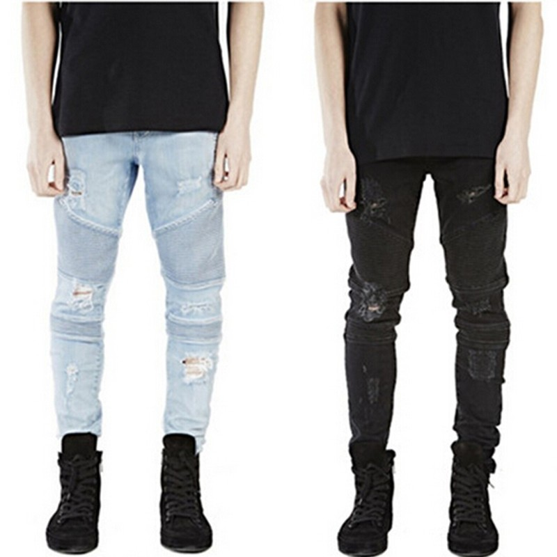 New man ripped Frayed biker jeans for men skinny destroyed Washed Blue Black designer hip hop swag rock Denim pants kanye west цены онлайн