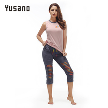 Yusano Sleepwear Women Pajamas Set Sleeveless Cotton Sexy Hollow Out Nightwear Womens Pyjama Mujer Casual Home Clothes Unicorn