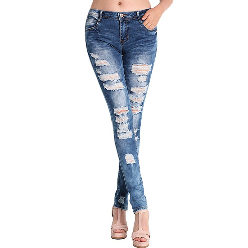2017 Large Size Summer New Women Jeans Ripped Holes Fashion Straight Full Length Mid Waist Famale Washed Denim Pants Cotton Trou