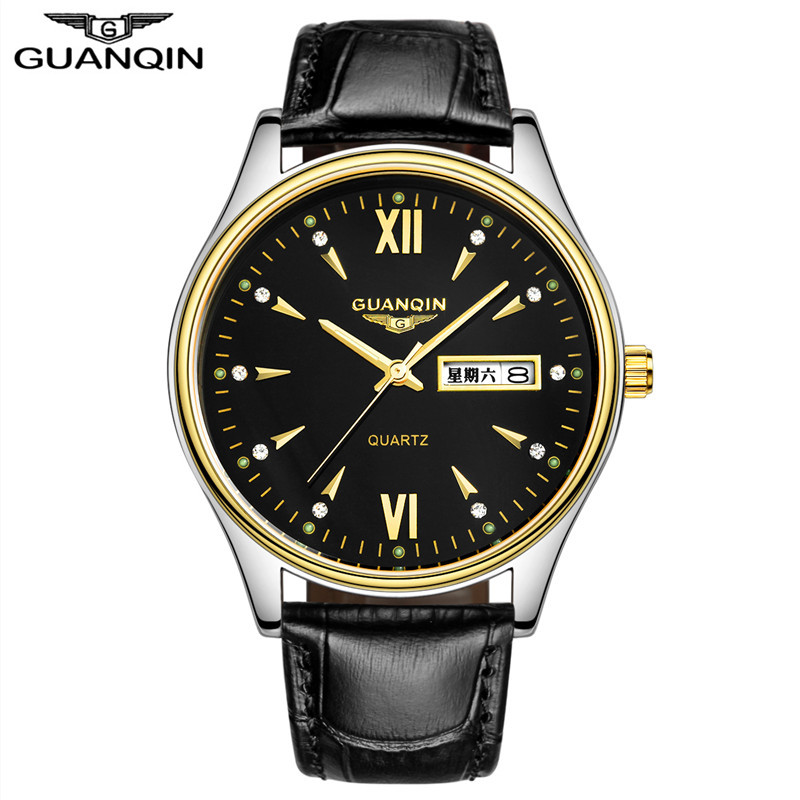 ФОТО GUANQIN Top Brand Luxury Men Watches Luminous Date Week Display Leather Band Casual Quartz Watch Relogio Masculino