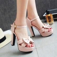 YMECHIC 2018 גבירותיי פרפר קשר פלטפורמת ספייק עקבים גבוהים סנדלי נשים מפלגה נעלי ורוד בז גדול גודל קיץ נעליים אישה