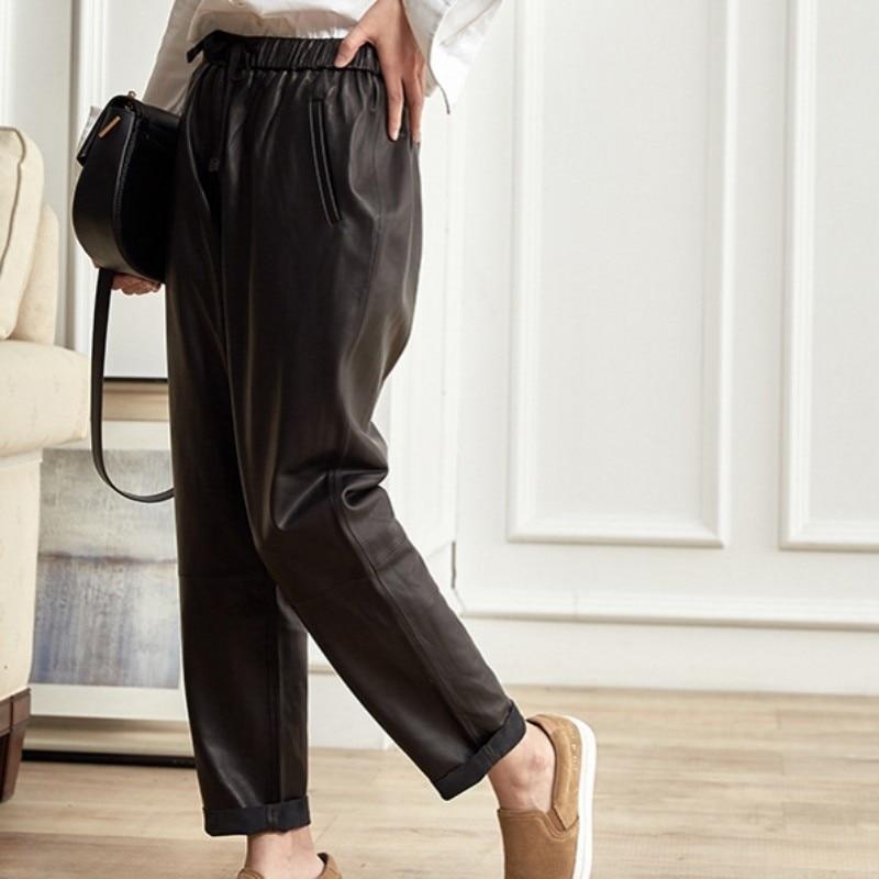Real Pantalones Harem Sexy Cintura Piel Las Harajuku Negro Cuero Black Streetwear De Oveja Alta Genuino Lápiz Mujeres xqAwXTTg