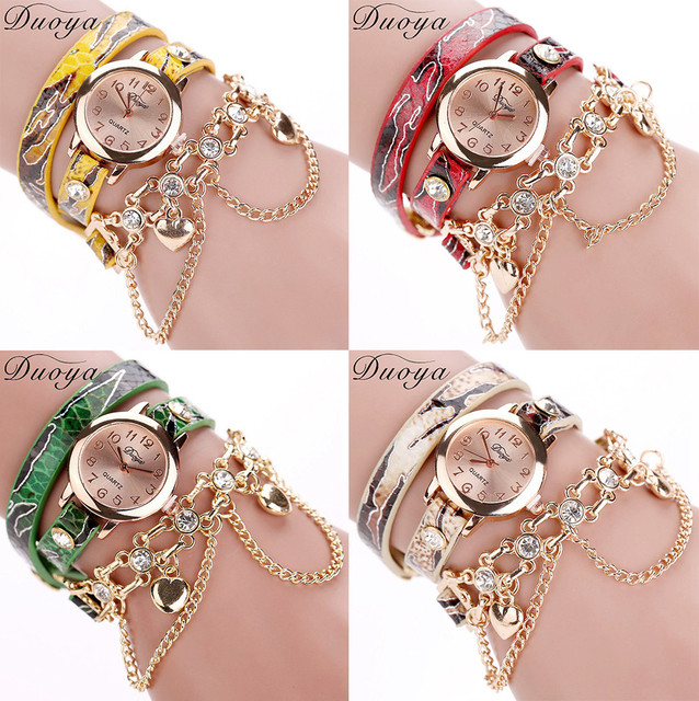 #5001 Fashion High Quality Woman WatchDuoya Hot sale fashion luxury heart pendan