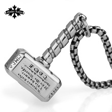 Nordic mythology Viking rune Thor's hammer totem stainless steel necklace the pendant  for  Men