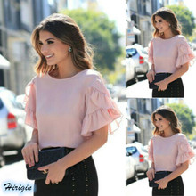 Summer Women Casual Tops 2019 New Ruffles Short Sleeve O-Neck Chiffon Loose