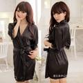 2017 Женщин Пижамы искусственного шелка халат халаты ночная рубашка черного кружева установить искушение платье женская sexy кружева Слинг пижамы