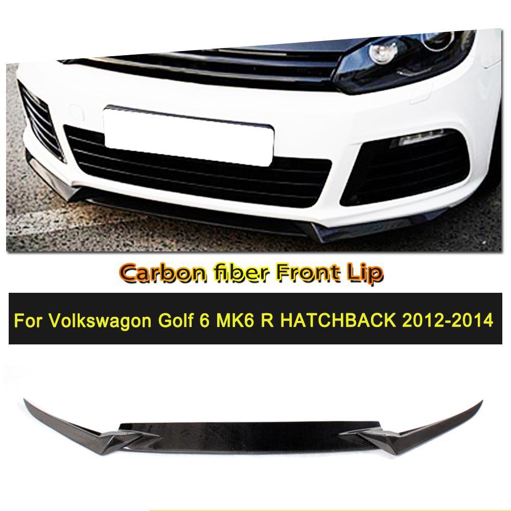 Car Styling 3PCS Carbon Fiber Car Front Bumper Lip Spoiler Splitters Apron for VW Golf VI MK6 R20 2010 2013