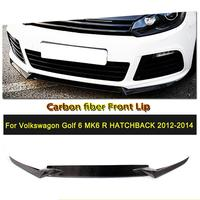 Car Styling 3PCS Carbon Fiber Car Front Bumper Lip Spoiler Splitters Apron for VW Golf VI MK6 R20 2010 2013
