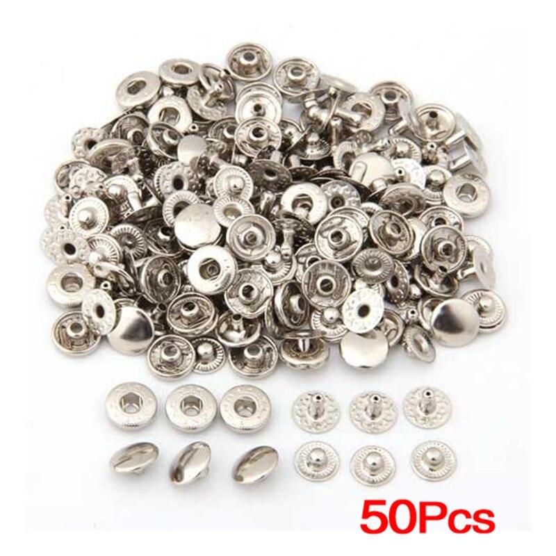 50 шт. металлические кнопки заклепки серебро Смешанная металлический запачканном кнопки Швейные Кнопки Скрапбукинг ремесла
