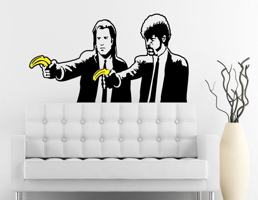 Banksy Banana Pulp Fiction Wall Decal Art Mural Sticker Wallpaper Vinyl Stickers Home Decor 91x50cm In From Garden On