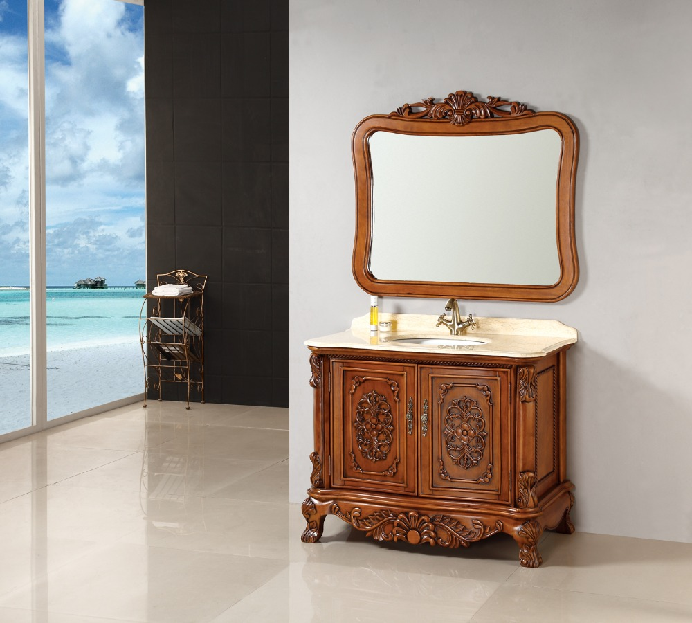 US $1350.0 |Antique wood brown finishing solid rubber oak wood bathroom  vanity cabinet on Aliexpress.com | Alibaba Group