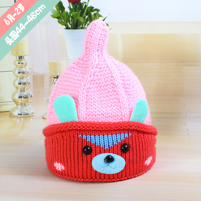 Cute Angry Dog Steeple Children's Caps Bonnet Beanies Knitted Hat Skullie Hats Winter Warm Girls Protect the Ears Warm Caps 2017 2017 yhkgg the girl s hat warm and comfortable in winter hats the ornament of a flower cute baby hat knitting hat