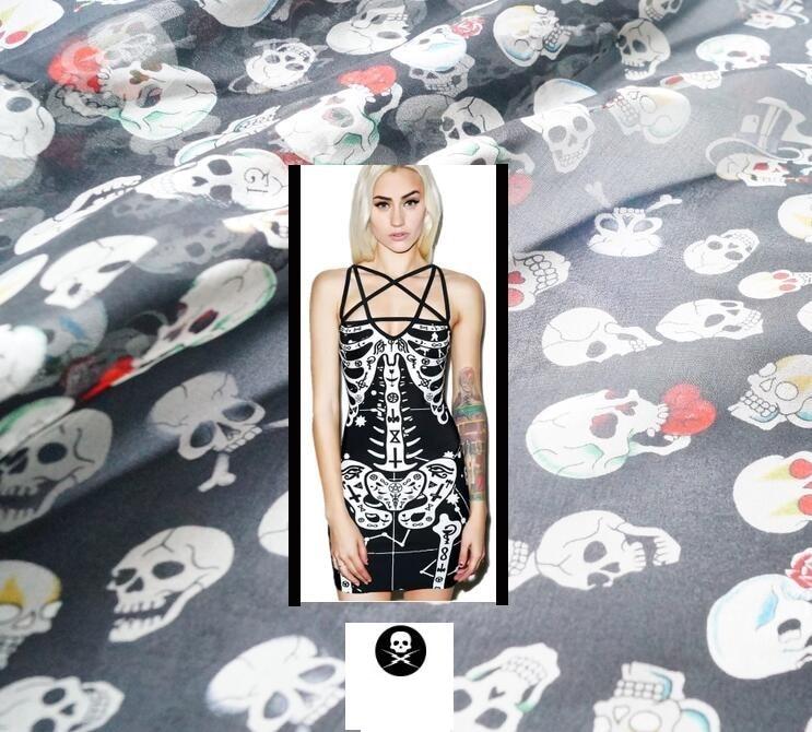 2017 fashion Paris skeleton floral fabric silk chiffon shows elegant black dress scarves wide cloth