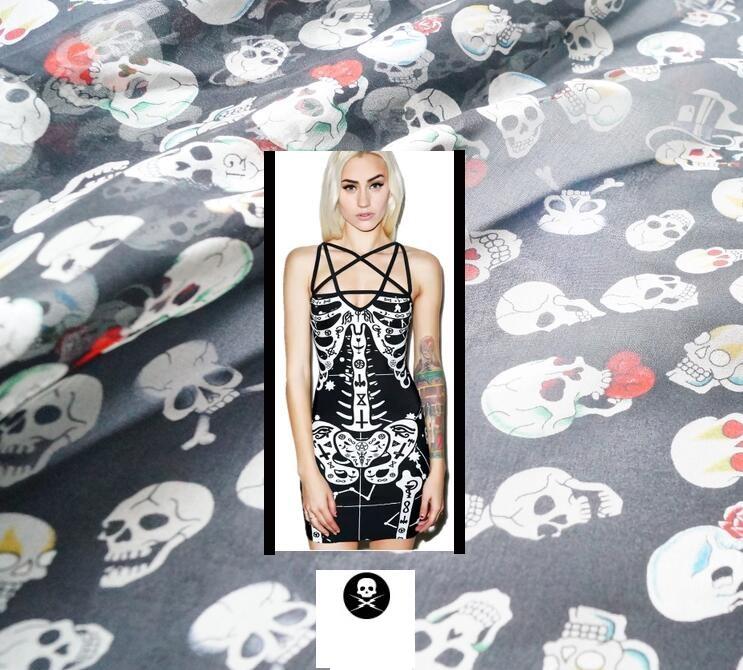 fashion Paris skeleton floral fabric silk chiffon fabric shows elegant black dress scarves wide cloth