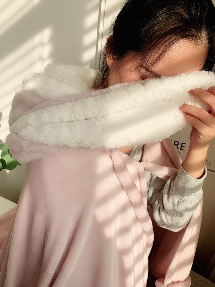 Cute Pink Comfy Blanket Sweatshirt Winter Warm Adults and Children Rabbit Ear Hooded Fleece Blanket Sleepwear Huge Bed Blankets 128