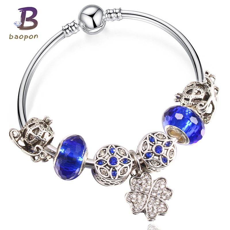 Baopon Crystal Beads Maple Leaf Enamel Silver Plated Bead