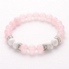 8Mm Pink and White Natural Stone Bracelets & Bangles Crystal Bracelets for Women Handmade
