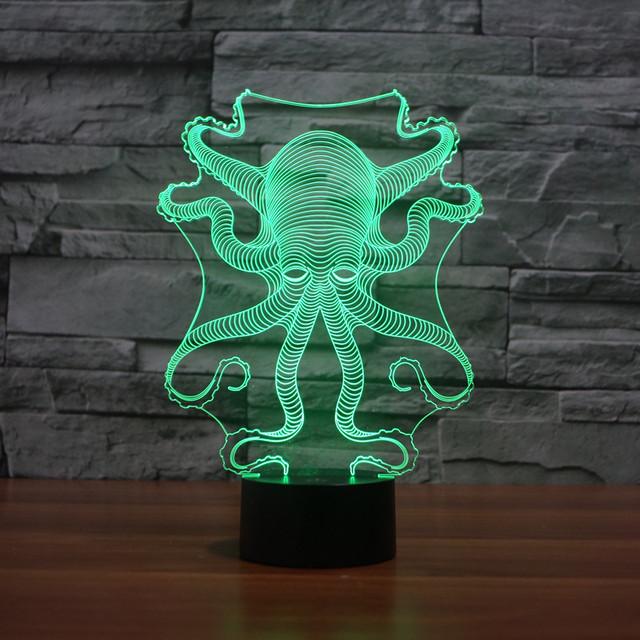 Polvo dos desenhos animados 3d Luz Da Noite Toque 3d Luz Da Noite Levou Lâmpada Usb 3d Led Night Light 7 Lâmpada Led 3d Luz Da Noite para As Crianças