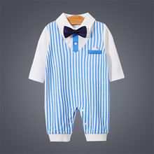 Gentleman Handsome One-Piece Jumpsuits Buttons-Up 100% Cotton Long-Sleeves Cute Absorbent Breathable Coveralls 3-18 Months