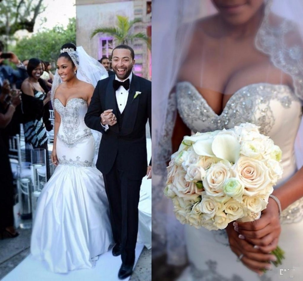 Romantic African Plus Size White Lace Mermaid Wedding