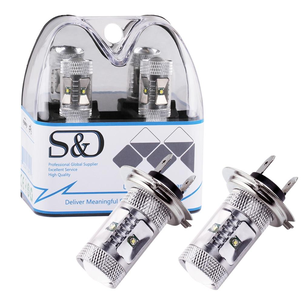 2x High Power Cree LED Chip Light Super White Bulb Car Fog Lamp H3 H4 H7 H16 3156 3157 9005 HB3 9006 HB4 T10 W5W 1156 Ba15s D050 2x t10 194 w5w cree chip led white 50w