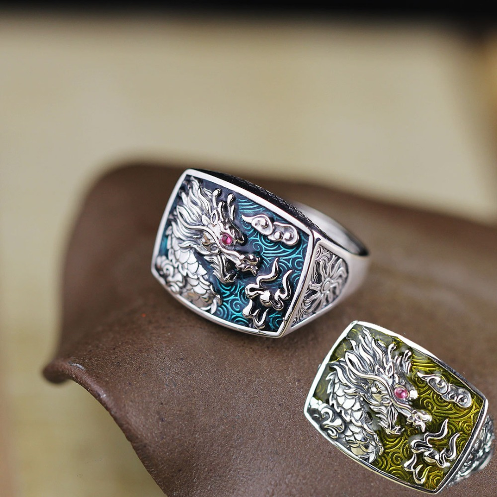 Genuine 925 Sterling Silver Dragon Rings For Men And Women Cz Stone Setting Vintage Hollow Design Enameling Process Fine JewelryGenuine 925 Sterling Silver Dragon Rings For Men And Women Cz Stone Setting Vintage Hollow Design Enameling Process Fine Jewelry