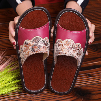 STONE VILLAGE Plus Size 35-44 Summer Indoor Household Home Slippers Non-Slip Couple Leather Slippers Shoes Men Women Slippers 4