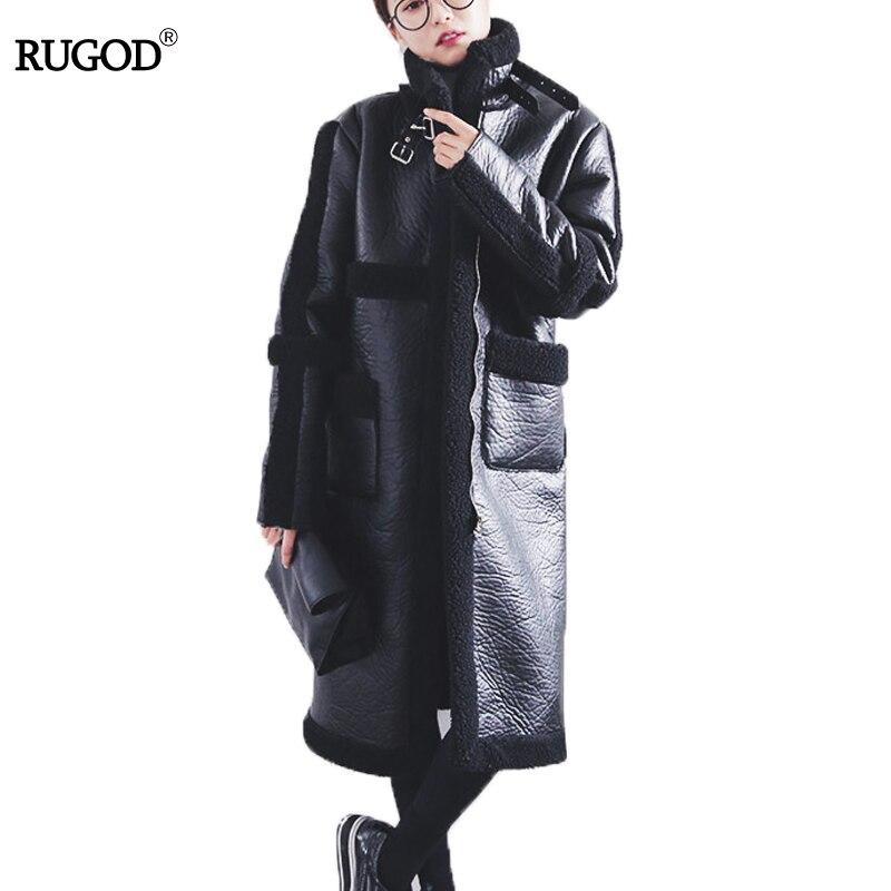 RUGOD 2018 New  Long Winter Coat Solid Thick Warm Plus Size Women Coat Winter Parka Loose Mandarin Collar Casaco Feminino