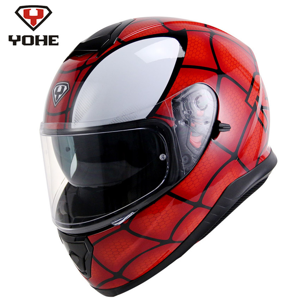 YOHE Spider Motorcycle Full Face Helmet Casque Casco Moto Motorcycle-Helmet for Motorcycle Motor Casque Moto Helmets Dual Visors 2017 new yohe full face motorcycle helmet yh 970 double lens motorbike helmets made of abs and pc lens with speed color 4 size