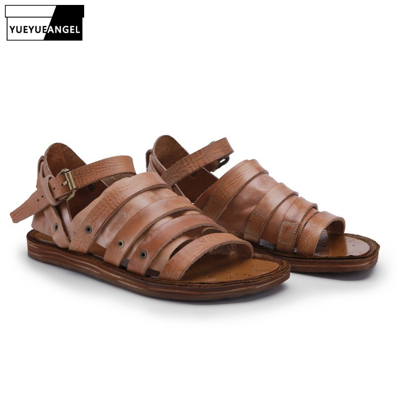 Mens Antiskid Leather Beach Sandals Casual Roma Goth Retro Outdoor Sport Shoes