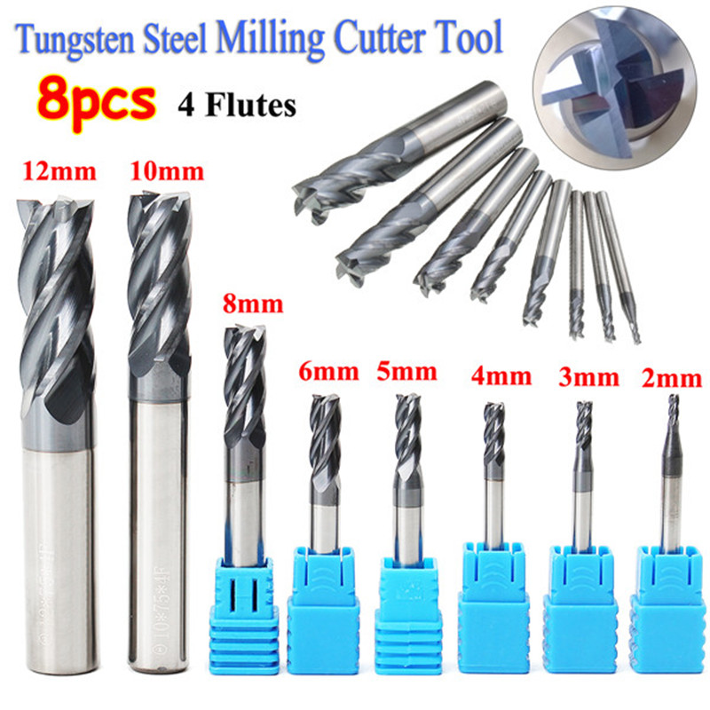 8pcs 4 Flutes Milling Cutter Carbide End Mill Set Steel Milling Cutter Tool CNC 2-12mm CNC Mill Drill Bit Machine Tools 20 20 60 150 with 2 flutes hrc 45 square flatted mill cutter tungsten carbide end mills cnc machine milling tools