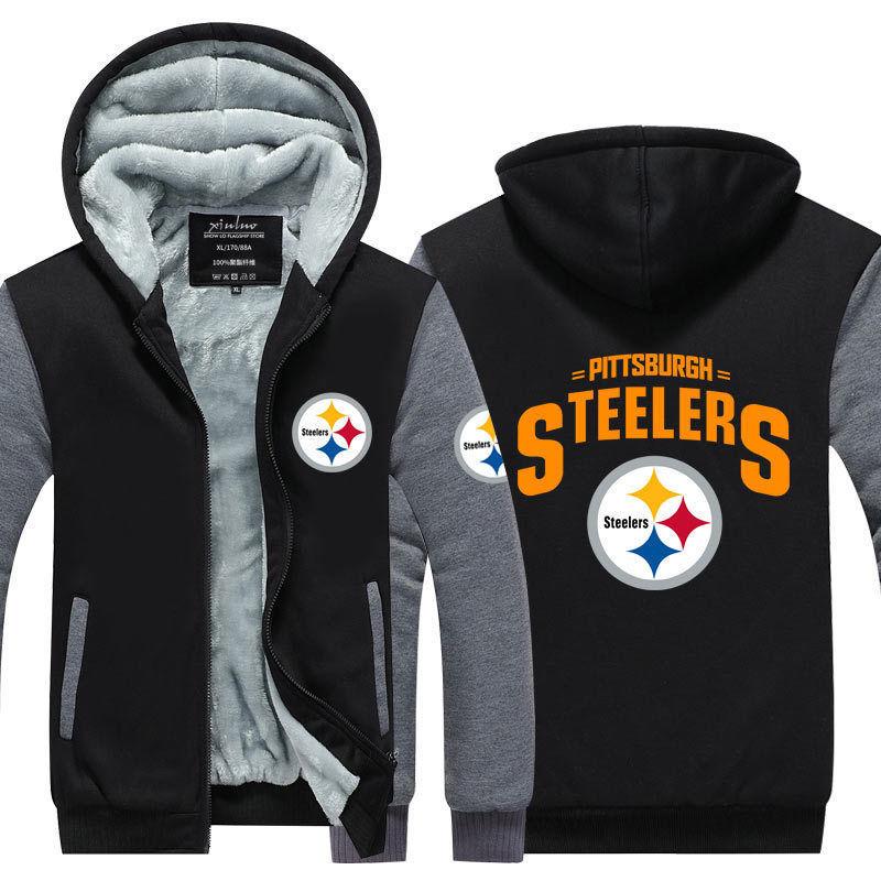 Dropshipping Mens Thicken Hoodie Pittsburgh Steelers Fan Warm Sweatshirt Coat Zipper Jacket Us Size