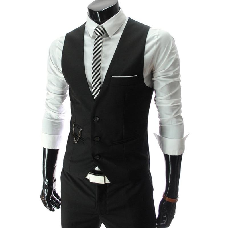2017 New Dress Vest Men Fashion Slim Fit Men Gilet Waistcoat Vest Business Suit Chaleco Hombre Autumn Colete Suit Vest Men