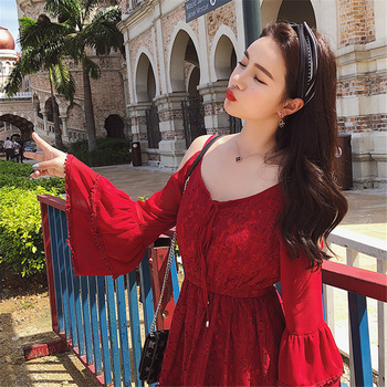 Full Flare Sleeve hole Shoulder V-neck Mini ladies clothing