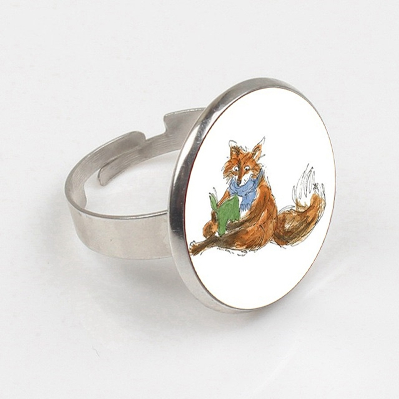 2019 For Unisex Glass ring Neck Lace Green Glass Bronze Angel Wings ring Jewelry Bijouterie Fox Is Reading A Book Logo in Rings from Jewelry Accessories