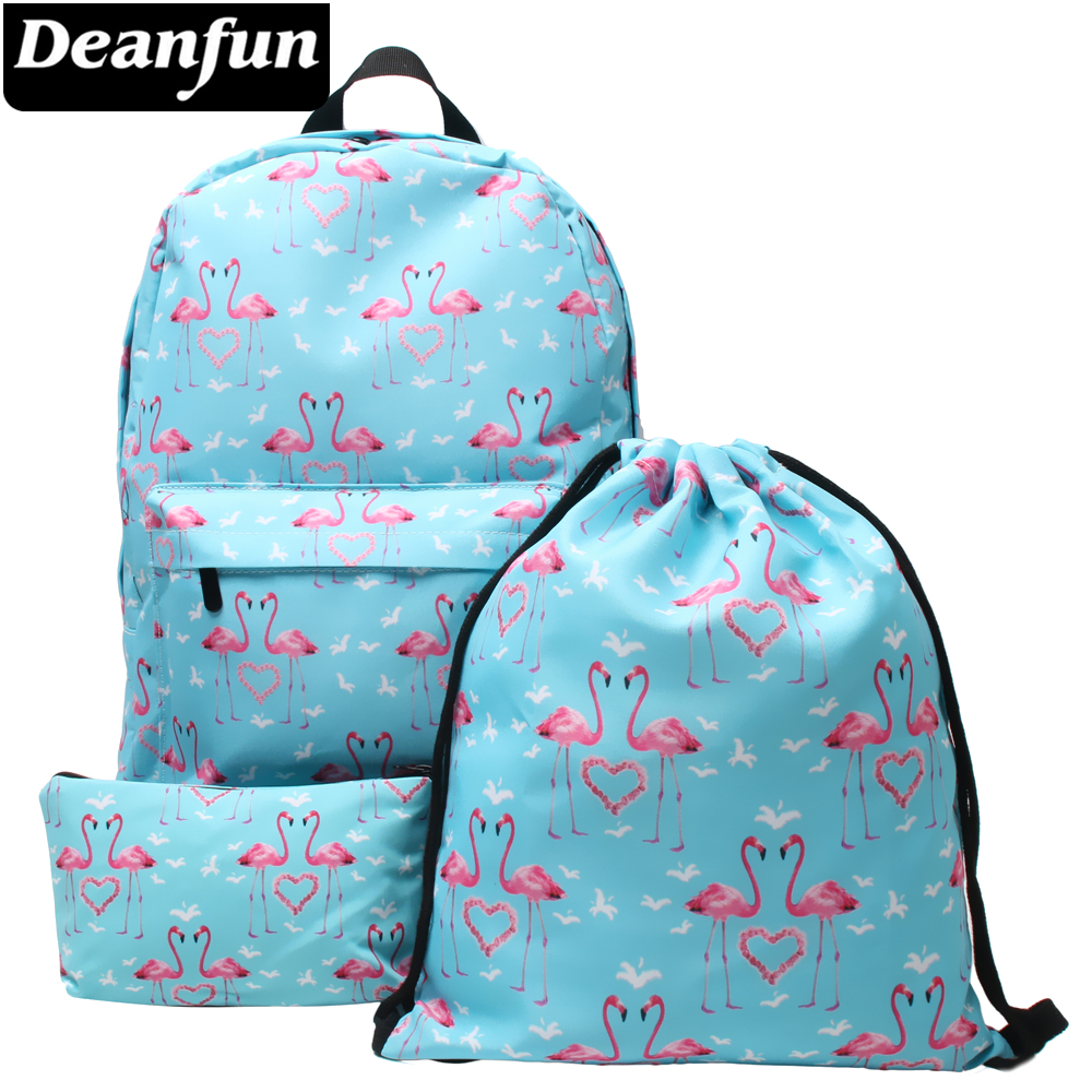 Deanfun 3PCS Backpacks Flamingo and Heart Printing Fashion Shoulder School Bags for Teenagers flamingo printing canvas school bags flamingo travel portable backpacks drawstring bag for women and students