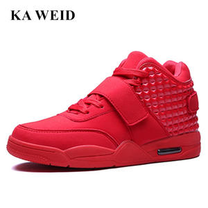 9c8517f5b49 KA WEID Men Casual Shoes High Top Leather Flat Red Black