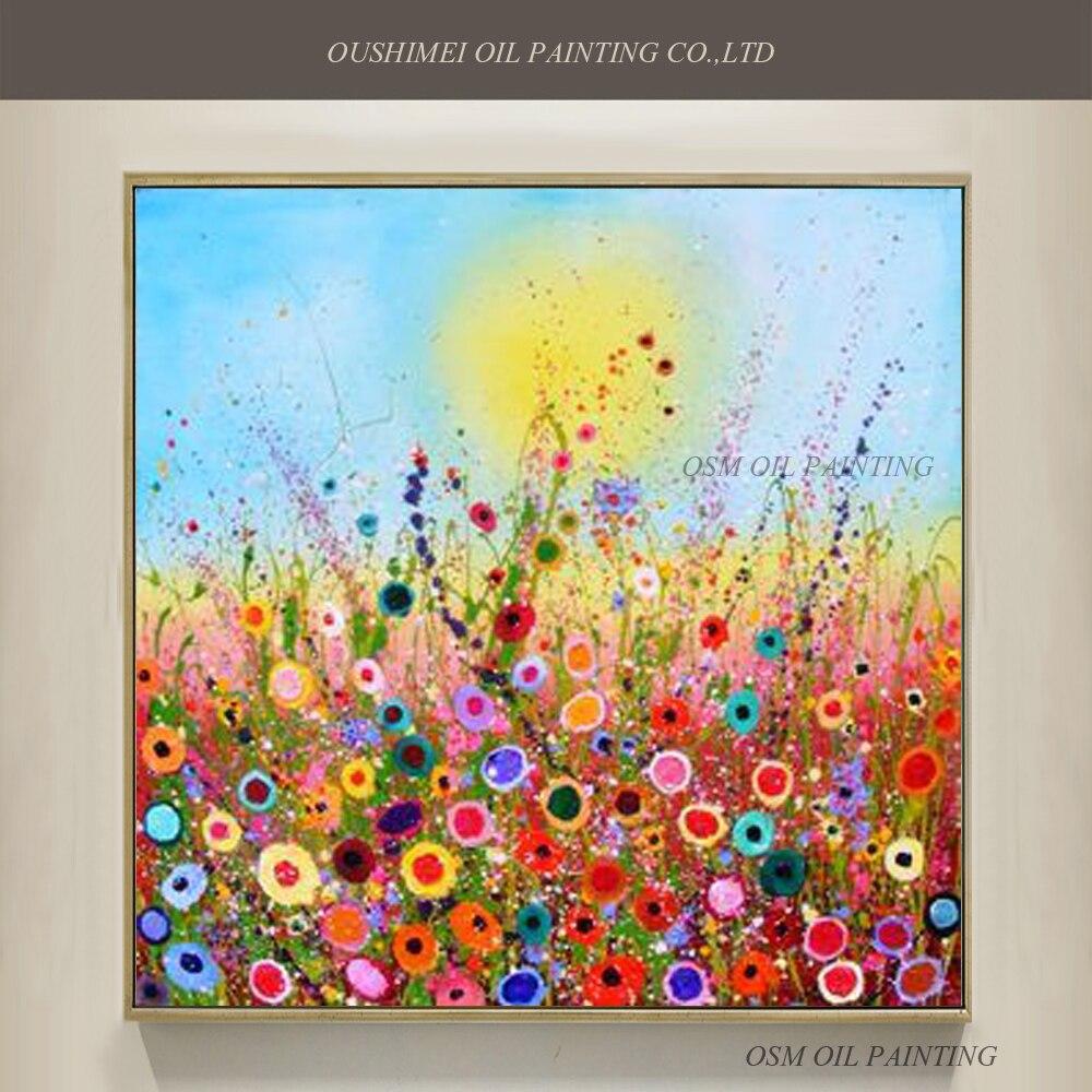 habilidades artista pintado a mano de alta calidad de colores bonitos amapolas pintura al leo flor