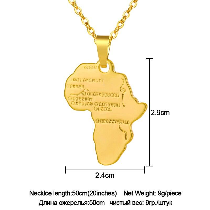 Горячая Мода Африка Карта Маленькая подвеска-кулон для мужчин/женщин золото/серебро Цвет африканские карты ювелирный подарок - Окраска металла: Gold