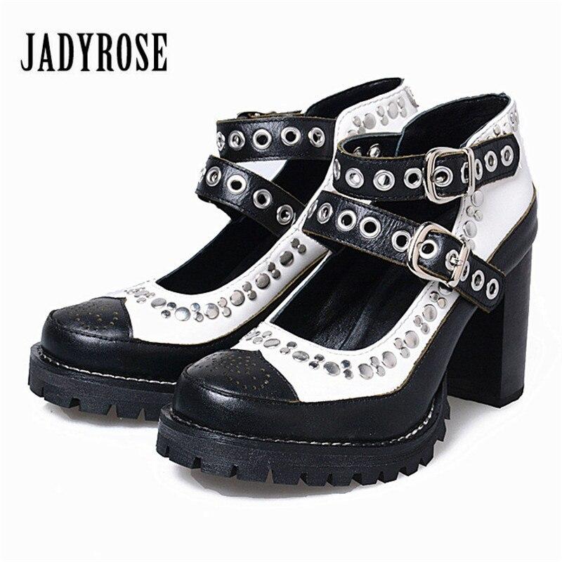 Jady Роуз смешанный Цвет Для женщин Летняя обувь с заклепками стилет ремни Для женщин Лодочки на платформе высокий толстый каблук туфли на де...