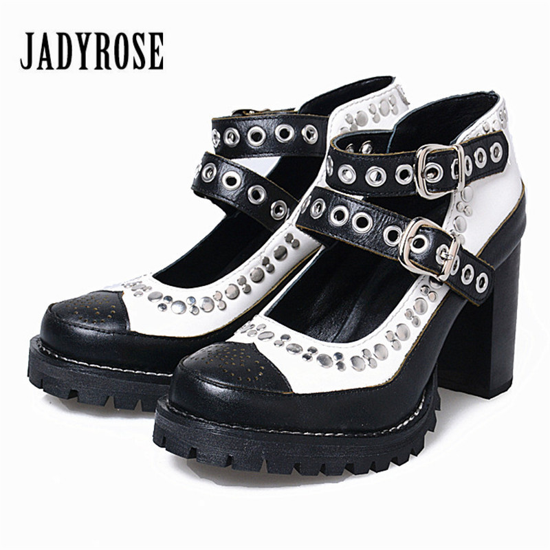 Jady Rose Mixed Color Women Summer Boots Rivets Studded Stiletto Straps Women Platform Pumps Chunky High Heels Valentine Shoes купить в Москве 2019