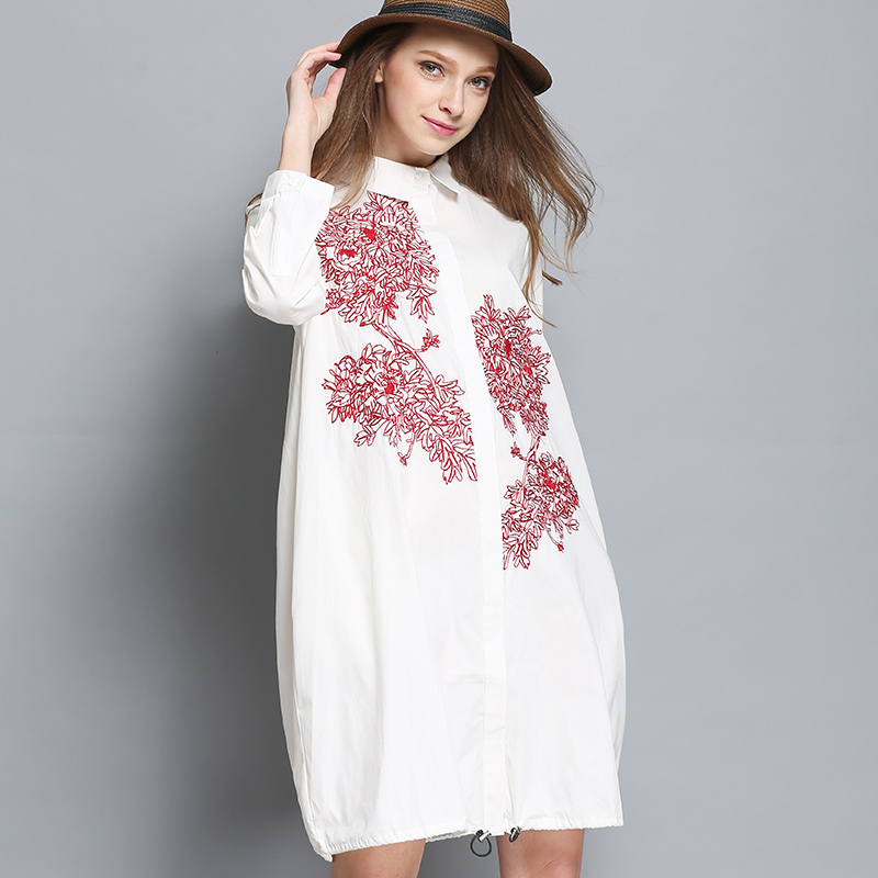New women cotton embroidery blouse dress plus size