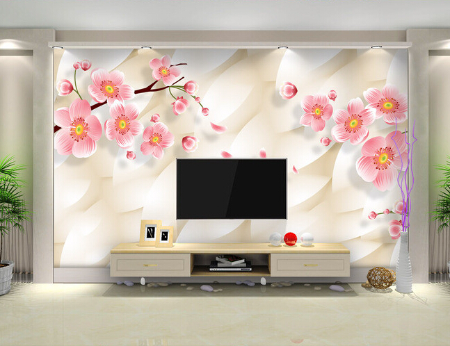 Custom 3D Floral Wallpaperwarm And Elegant Pink Plum Murals For The Living Room Bedroom TV Background Wall Waterproof Wallpaper In Wallpapers From Home