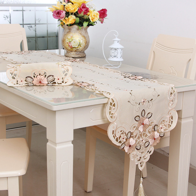 The New Elegant European Classical Embroidered Table Runner Placemats  Tablecloths Home Household Cloth Table Decoration