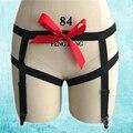 Sexy elástico negro cadera liguero rojo cinta bondage lingerie pole dance baile vestidos underwear p0122