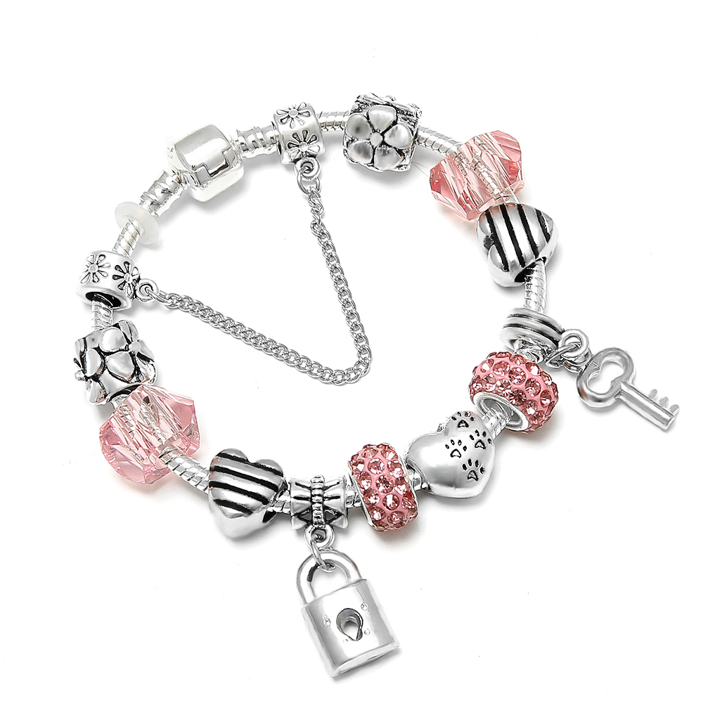 CUTEECO Romantic Love Silver Color DIY Charm Bracelet Love Heart Key and Lock Brand Bracelet for Women Jewelry Gift(China)
