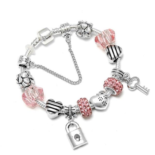 SPINNER Amor Romântico DIY Charm Bracelet Amor Do Coração Chave e Bloqueio Pandora Bracelet para As Mulheres Jóias de Natal de Ano Novo presente