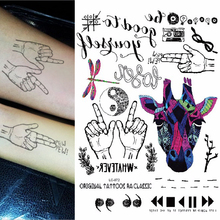 1sheet Multi-style Trendy Temporary Tattoos Finger Pistol Dragonfly Unicorn Arm Flash Tattoo Sticker Colored Tatuagem 25models