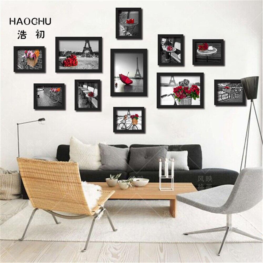 HAOCHU Modern Red Black and White Romantic Paris Landscape Flowers ...